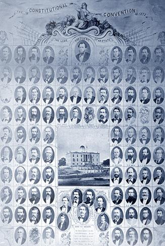 Composite photo of individual portraits of the ninety delegates to the 1875 Constitutional Convention which drafted the current constitution of Texas.