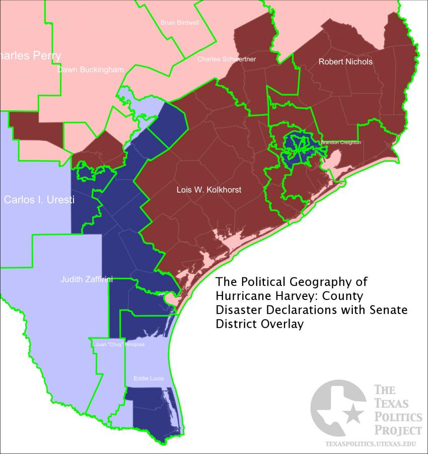 Declared Disaster Counties with Senate District Overlay