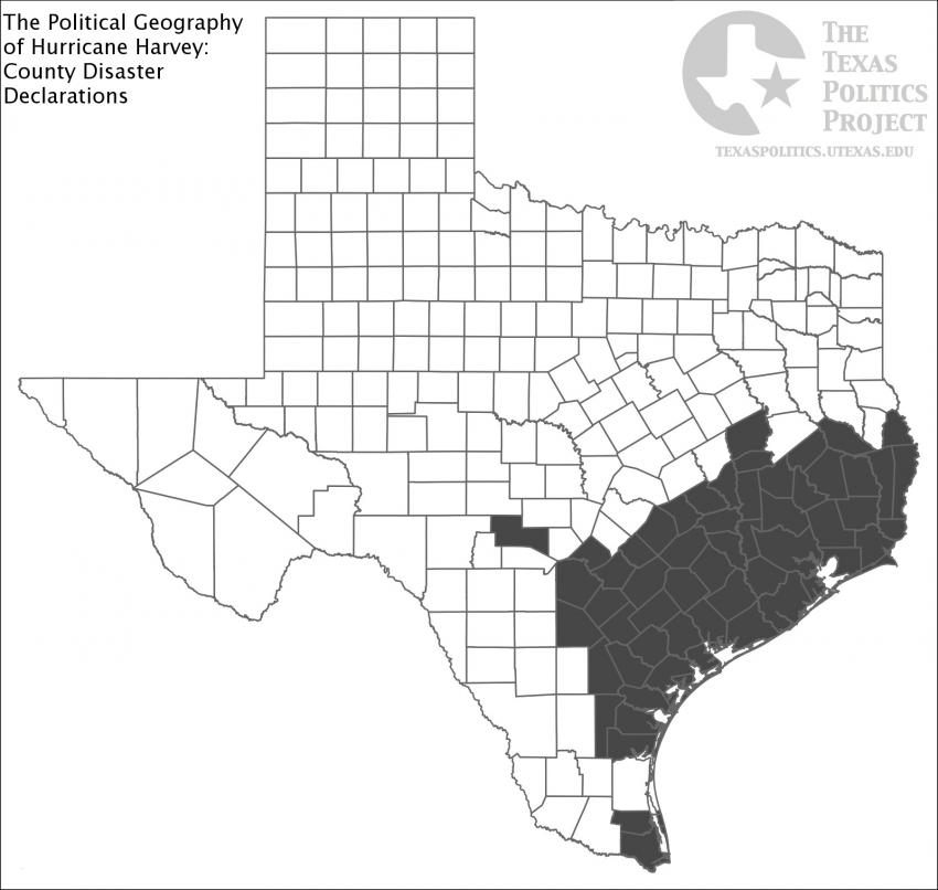State Map of Texas with Disaster Declared Counties Highlighted