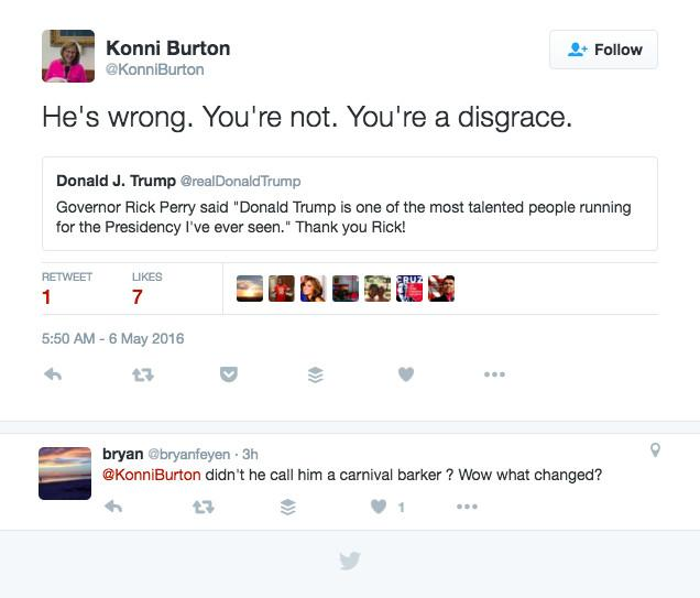 Konni Burton's Tweet about Rick Perry's Endorsement of Donald Trump