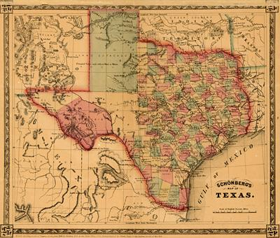1866 map of Texas and its counties.