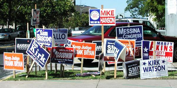 Photo of campaign signs for county and other seats.